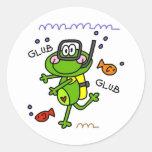 Pegatinas del muchacho de Froggie del buceo con Pegatina Redonda