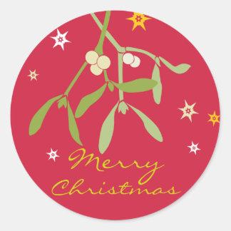 Pegatinas del muérdago de las Felices Navidad Pegatina Redonda