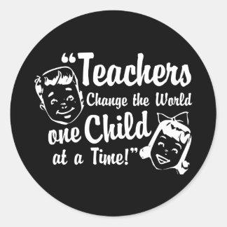Pegatinas del mundo del cambio de los profesores pegatinas redondas