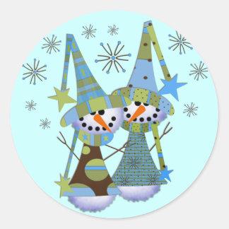 Pegatinas del muñeco de nieve del invierno pegatina redonda