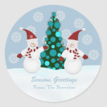 Pegatinas del muñeco de nieve del navidad etiqueta redonda