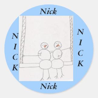 pegatinas del muñeco de nieve para el nombre: NICK Pegatinas Redondas