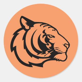 Pegatinas del naranja del tigre pegatina redonda