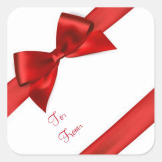 Pegatinas del navidad/arcos del rojo pegatina cuadrada