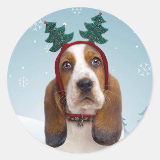 Pegatinas del navidad de Basset Hound Pegatina Redonda
