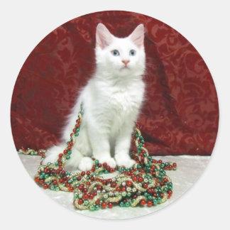 Pegatinas del navidad de Bianca (rescate del gato Pegatinas Redondas