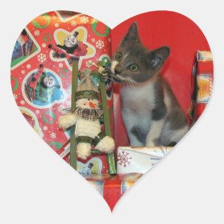 Pegatinas del navidad de Bob (5943) {gatito del Calcomania De Corazon
