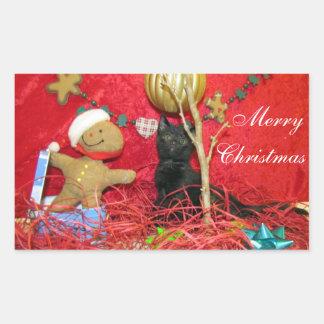 Pegatinas del navidad de Kimba (gatito - gato) Rectangular Pegatina