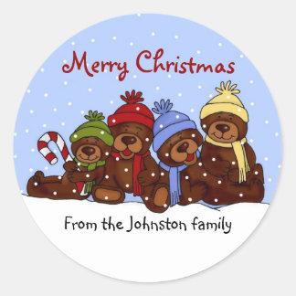 Pegatinas del navidad de la familia del oso