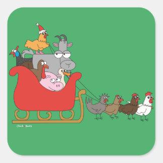 Pegatinas del navidad de la granja pegatina cuadrada