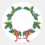 Pegatinas del navidad de la guirnalda del acebo pegatina redonda