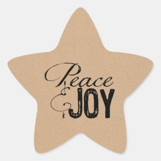 Pegatinas del navidad de la paz y de la alegría pegatina en forma de estrella