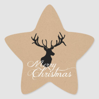 Pegatinas del navidad de los ciervos de Silouette Pegatina En Forma De Estrella