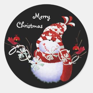 Pegatinas del navidad de los muñecos de nieve pegatina redonda