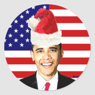 Pegatinas del navidad de Obama Pegatina Redonda