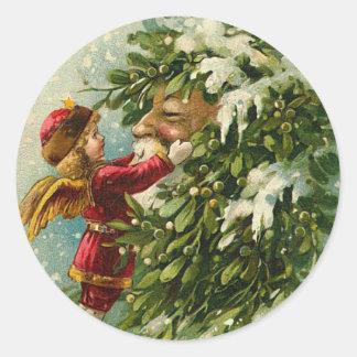 Pegatinas del navidad de Santa del Victorian Pegatina Redonda