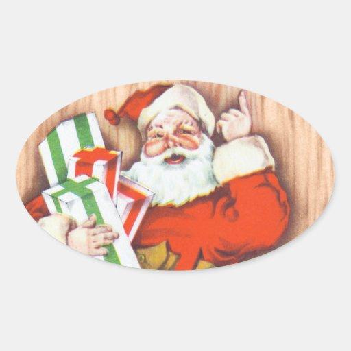 Pegatinas del navidad de Santa del vintage