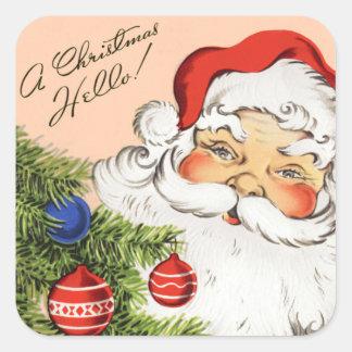 Pegatinas del navidad de Santa del vintage Pegatina Cuadrada