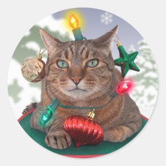 pegatinas del navidad del árbol Gato-mas Pegatina Redonda