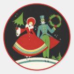 Pegatinas del navidad del art déco del vintage etiquetas redondas