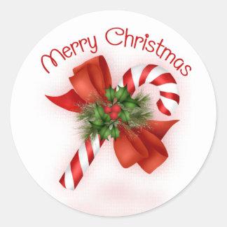 Pegatinas del navidad del bastón de caramelo etiqueta redonda