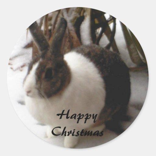 pegatinas del navidad del conejo pegatina redonda