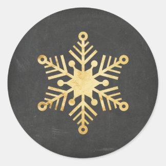 Pegatinas del navidad del copo de nieve de la hoja pegatina redonda