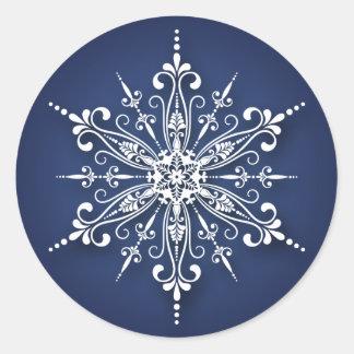 Pegatinas del navidad del copo de nieve del día de pegatina redonda