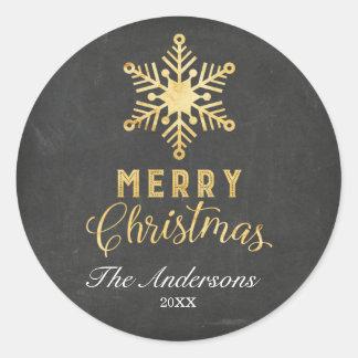 Pegatinas del navidad del copo de nieve del oro pegatina redonda