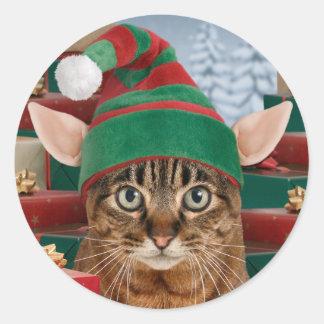 Pegatinas del navidad del Duende-Gato de Santa Pegatinas Redondas