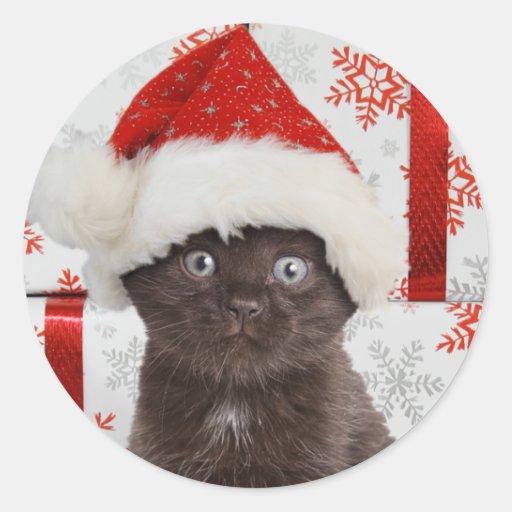 Pegatinas del navidad del gatito etiqueta redonda