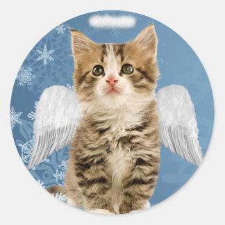 Pegatinas del navidad del gatito del ángel etiqueta redonda