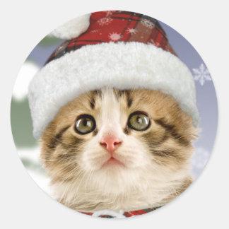 Pegatinas del navidad del gatito Nevado Etiqueta Redonda