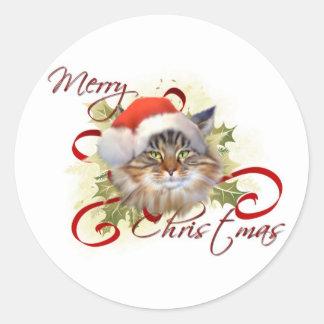 Pegatinas del navidad del gato de Coon de Maine Etiqueta Redonda