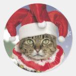 Pegatinas del navidad del gato del bufón de Santa Pegatinas Redondas