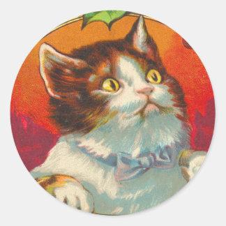 Pegatinas del navidad del gato del Victorian
