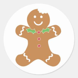 Pegatinas del navidad del hombre de pan de pegatina redonda