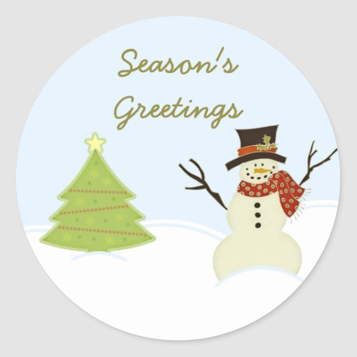 Pegatinas del navidad del muñeco de nieve y del pegatina redonda
