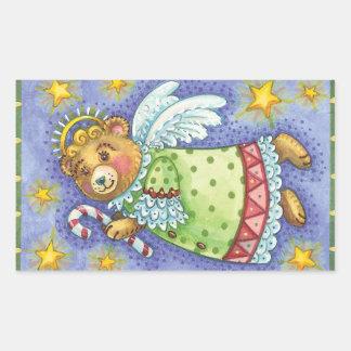 Pegatinas del navidad del oso del ángel del rectangular pegatinas
