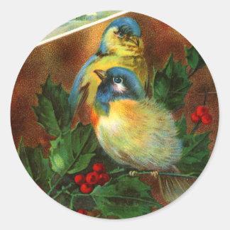 Pegatinas del navidad del pájaro del Victorian