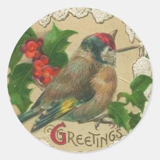 Pegatinas del navidad del pájaro del Victorian Pegatina Redonda