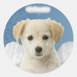 Pegatinas del navidad del perrito del ángel etiquetas redondas