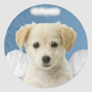 Pegatinas del navidad del perrito del ángel pegatina redonda