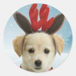 Pegatinas del navidad del perrito del reno pegatina redonda