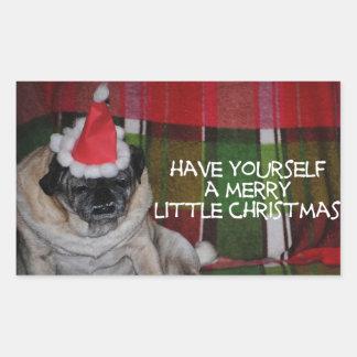 Pegatinas del navidad del perro del barro amasado pegatina rectangular