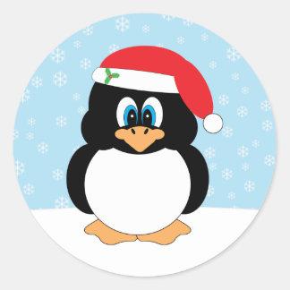 Pegatinas del navidad del pingüino de Santa Pegatina Redonda