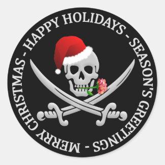 Pegatinas del navidad del pirata pegatina redonda