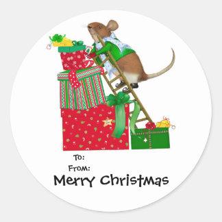 Pegatinas del navidad del ratón de las Felices Pegatina Redonda