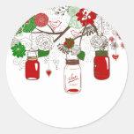 Pegatinas del navidad del tarro de albañil del pegatina redonda