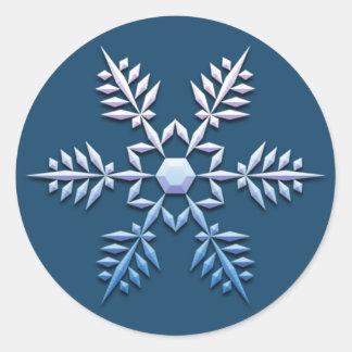 Pegatinas del navidad del trío del copo de nieve pegatina redonda